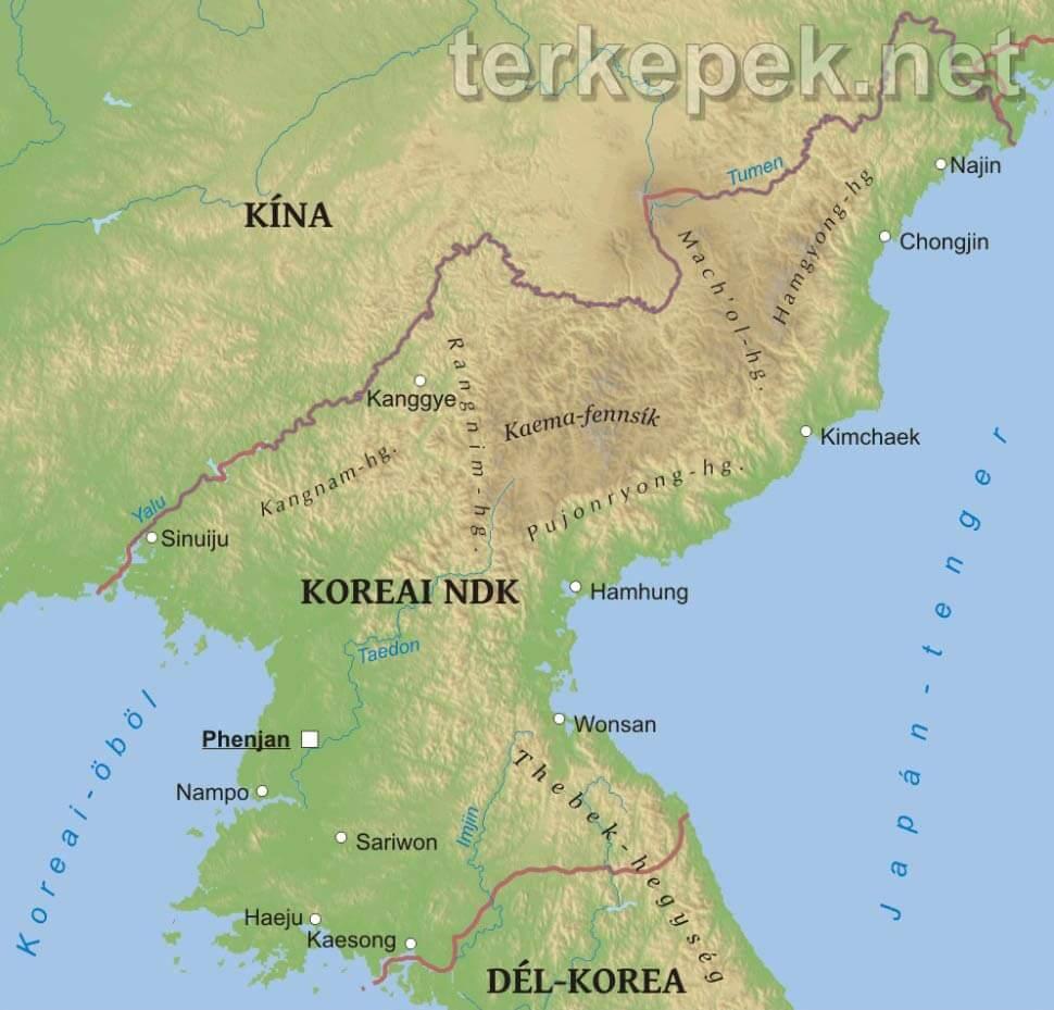 észak korea térkép Észak Korea domborzati térképe észak korea térkép